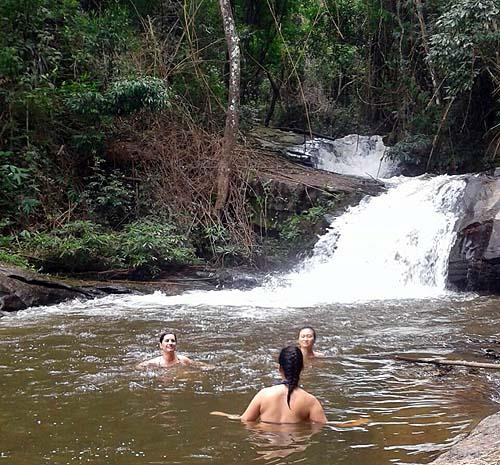 Swimming at waterfall Doi Inthanon National Park Thailand