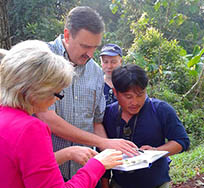 Our guide with birders at Doi Inthanon