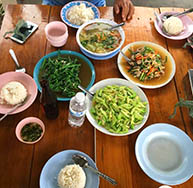 Family style dinner at Doi Inthanon National Park Bungalow
