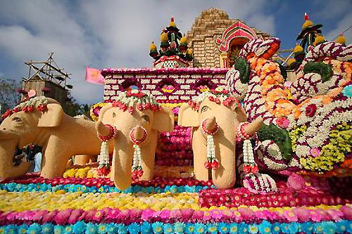 Parade float at the Chiang Mai Thailand Flower Festival
