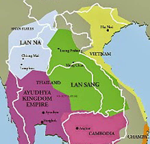 Map of the Lanna Kingdom Thailand