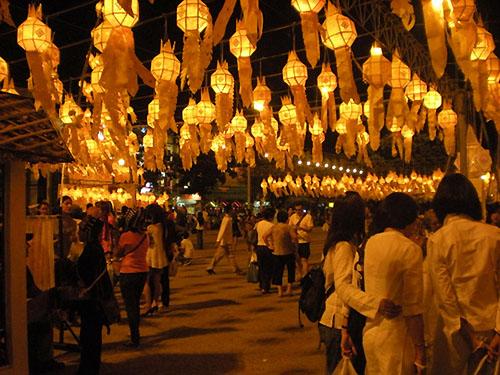 Lanterns at Thapae gate in Chiang Mai Thailand