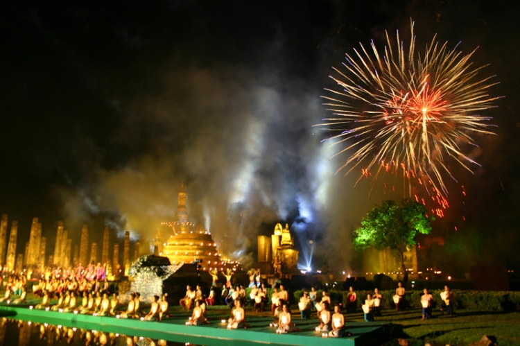 Loy Krathong Festival in Sukhothai Thailand