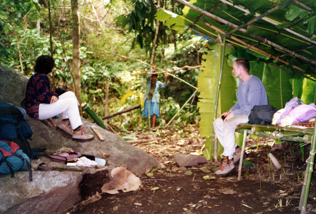 Our guides made this Bamboo hut in the jungle