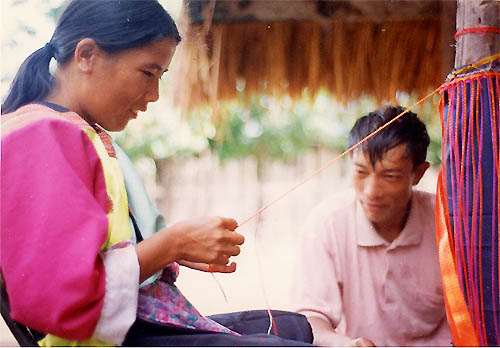 Lisu Woman Sewing at guest home