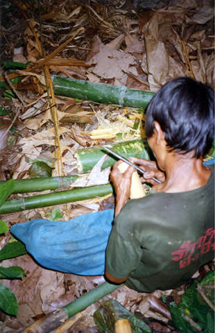 Making bamboo cups in the jungle.